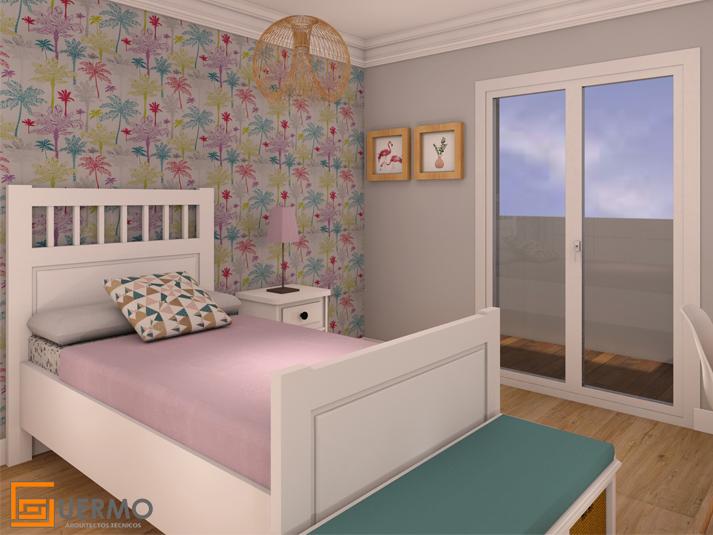 Reforma e interiorismo dormitorio niña